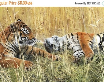 12% off thru July FIELDS OF GOLD Northcott digitally printed panel cotton quilt fabric 28 by 42 inches tigers in the grass