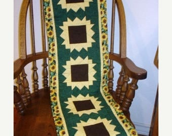 12% off thru July SUNFLOWERS ON PARADE table runner pattern Summer August  Year two- pieced quilted