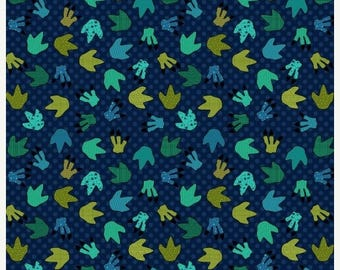 12% off thru July I Love U this Much Henry Glass  quilters cotton fabric by the HALF yard dinosaur paw prints 8565-77 Whole Country Caboodle