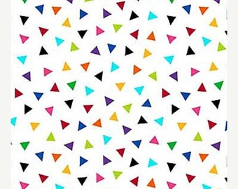 20 % off thru 8/20 COLORWORKS CONCEPTS Northcott by the Half yard cotton quilt fabric multicolor rainbow triangles tossed on white 20793-10