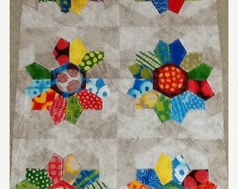 20 % off thru 8/20 FROM OUTSIDE IN  Moda panel cotton quilt fabric 23230-11 Malka Dubrawsky Funky Dresden Plate Cheater Cloth