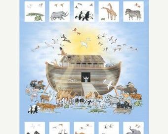 20% off thru 2/22 NOAH'S ARK Northcott digitally printed panel cotton quilt fabric 36 by 42 in Dp21499-42- Animals birds