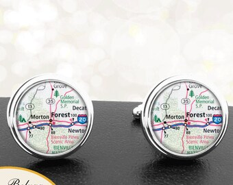 Cufflink Forest and Morton MS Handmade Cuff Links City State Maps Mississippi Groomsmen Wedding Party Fathers Dads Men