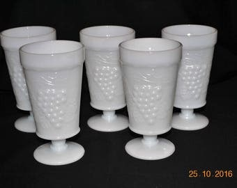 5 - White Vintage  Milk Glass  Footed Goblets in The Grape Pattern