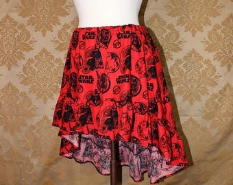 "HALF OFF High Low Mini Cecilia Skirt -- Star Wars Black/Red Boba Fett, Stormtrooper, and Darth Vader -- Ready to Ship -- Fits Up To 38"" Wais"
