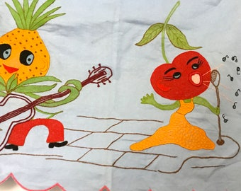 Vintage Table Runner - Anthropomorphic Embroidered Happy Fruit Face - 1950's - Retro Linen - Kitchen Cart Cover - Music Themed