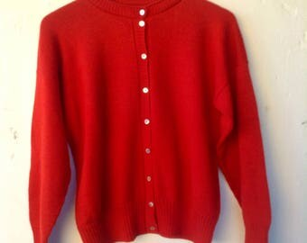 Pure wool soft fire engine red knitted cardigan New never worn.