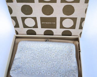 White Beaded Clutch Bridal Purse by Magid in Original Box