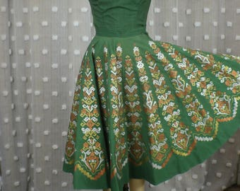 1950's Mexican Skirt Top Set / Vintage Metallic Painted Circle Skirt / Matching Southwest Set Two Piece