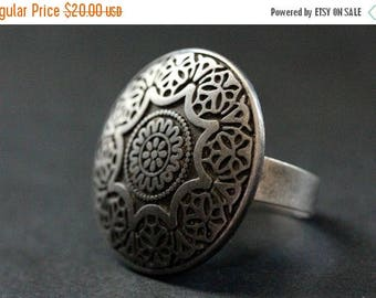 BACK to SCHOOL SALE Spring Mandala Ring. Flower Mandala Ring. Button Ring with Adjustable Ring Base. Handmade Jewelry.