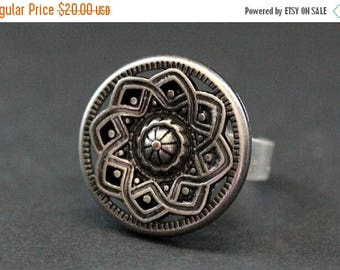 BACK to SCHOOL SALE Sun Mandala Ring. Silver Sun Ring. Antiqued Silver Button Ring. Adjustable Sizing. Handmade Jewelry.