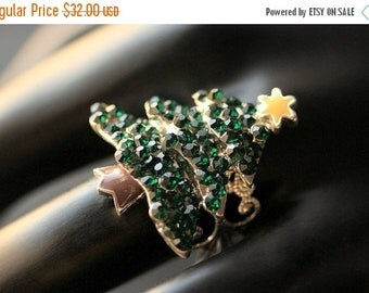 EASTER SALE Rhinestone Christmas Tree Ring. Rhinestone Ring. Christmas Ring. Silver Ring. Adjustable Ring. Holiday Ring. Christmas Jewelry.