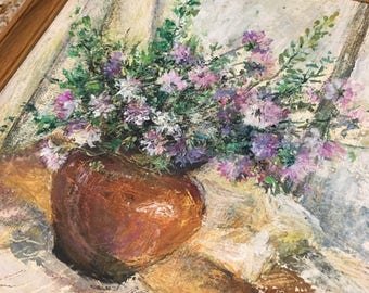 Vintage acrylic still life painting on board purle flowers framed