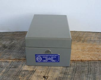 Vintage Gray Metal Index File 5x3 Index Holder Box Bandes Quality