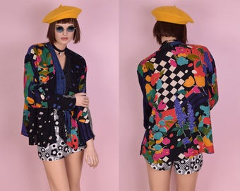 90s Colorful Multi Pattern Oversized Blouse/ US 6/ 1990s/ Button Down/ Tie Up Top/ Long Sleeve