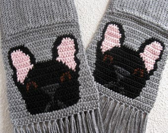 Black French Bulldog Scarf. Gray knit and crochet scarf with black bulldogs. Crochet dog scarf.
