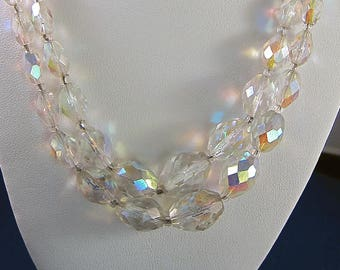 Vintage Cut Crystal Double Strand Aurora Borealis Necklace with Rhinestone Clasp