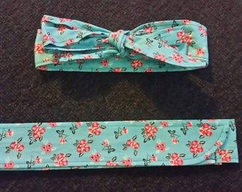Floral on Teal Fabric Headband.