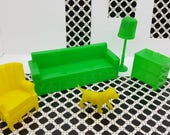 Marx Living room Sofa Chair Wing Chair Pole Lamp and Dog   TV Radio  Furniture  Dollhouse Traditional Style Hard Plastic