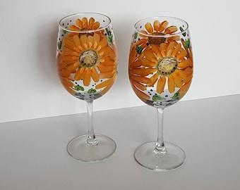 Handpainted Bright Happy Orange Flowers Wine Glasses set of 2