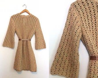 ON SALE Vintage 60s 70s Crochet Sweater Dress / Hippie Bell Sleeve Knit Mini Dress / Boho Sweater Dress / Small