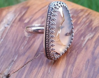 Silver Bezel Ring Montana Agate Statement Ring Size 9 Silver Ring