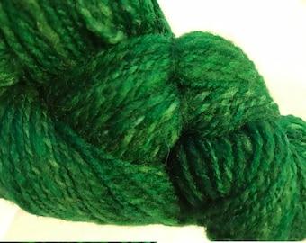 "Hand Spun 100% Wool Yarn ""GREENS"" 2 PLY/290 YDS. 3.1 ozs. Sport"