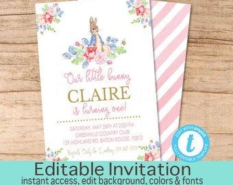 First Birthday Invitation / Peter Rabbit Floral Watercolor invitation /Pink Bunny Invitation/ Vintage First Birthday / editable Invitation
