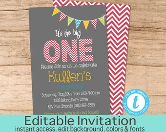 First Birthday Invitation, Boy first birthday invitation, 1st Birthday Invitatiom, Editable Invitation, Templett Instant Download