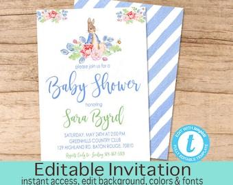 Peter Rabbit Baby Shower Invitation, Peter Rabbit Invitation, Vintage Blue Bunny  Invitation, EDITABLE