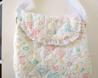 Handprint Diaper Bag with and Lace Trim