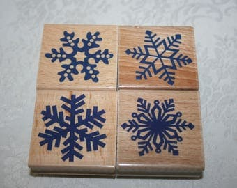 Set of Four 4 NEW Crafting Rubber Wood Stamps Snowflakes Winter Hobby Lobby