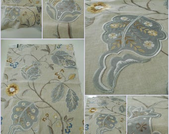 "Lee Jofa- GP J Baker-Calthorpe-Aqua-Embroidery- pc w 26""x36""long-BF10531-3- Luxury Embroidery Fabric"