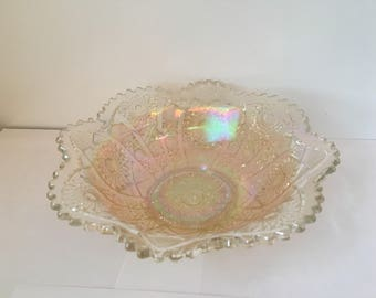 Vintage Hobstar Carnival Glass Serving Bowl in Marigold and Clear