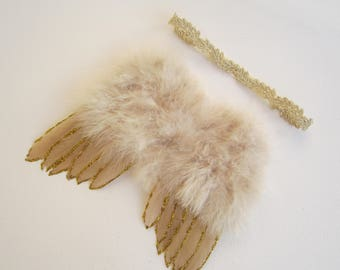 Gold & Tan Feather Angel Wings with Gold Glitter AND/OR Gold Trim Headband, fotograf, photo prop, Lil Miss Sweet pea