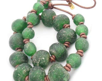 Recycled Sea Glass Beads, Emerald Green Beaded Necklace