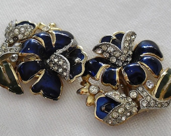 Coro Dress Clips by Adolph Katz  - Art Deco Gold Plated Duette  1930s Vintage Costume Jewelry