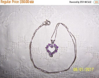 TWICE A YEAR, 25% Off Vintage Amethyst and Diamonds accents heart pendant with chain. Sterling silver.