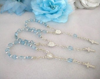 Baby Blue Mini Rosary for Christening Favors, Baptism Favors, Religious favors, First Communions Celebration - Set of 12
