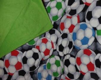 "Multi-Colored SOCCER Ball Fleece Quilt Blanket Throw 68 1/2"" x 59"""