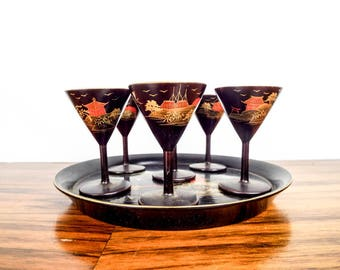 Vintage Japanese Asian Style Black & Gold Lacquer Wood Stemmed Sake Glasses and Tray, Unique Retro Lacquerware Barware for Small Drinks