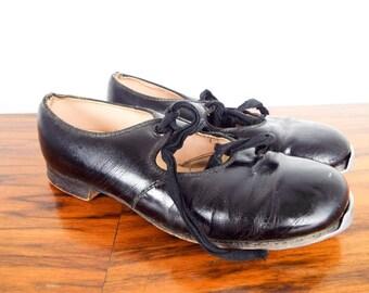 Vintage 1960s Black Patent Leather Kids Tap Dancing Shoes, Tip Top Tap Dance Footwear