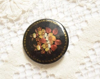 Vintage Wood Hand Painted Brooch Black with Floral Design and Gold Border, Russian, Signed, Collectible, 2""