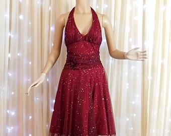 Vintage 80s/90s burgundy/ maroon  glitter prom dress  party dress, halter dress,