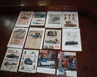 Vintage Ford Pontiac Mercury Lincoln Zephyr V-12  car Advertisments 1930-50's lot of 13
