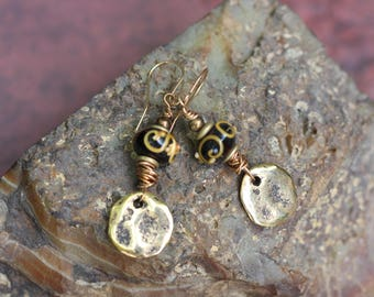 SALE, Handmade Rustic Earrings, Boho Style, Gypsy Style, Lightweight, Dangle Earrings, Gold Metal Charm, Lampwork Bead Earrings