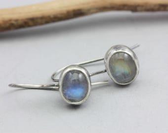 Rainbow Moonstone Earrings, Moonstone & Sterling Earrings, Le Chien Noir, Artisan Earrings, Gift for Her