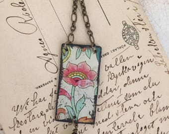 """Tin Jewelry Necklace """"Peony"""" Tin for the Ten Year Tenth Wedding Anniversary"""