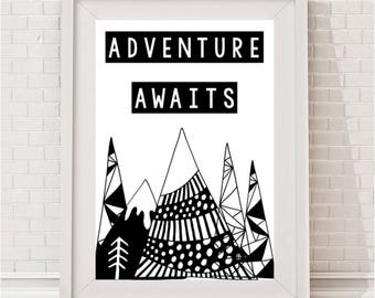 Adventure Awaits Tribal Monochrome Print