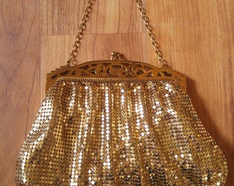 70s Whiting & Davis gold mesh purse with mirror